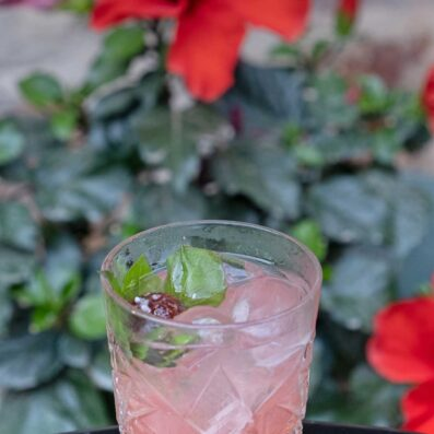 Strawberry and basil caipirinha cocktail
